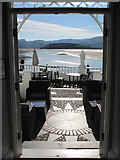 SH5837 : Portmeirion Hotel terrace with a view towards Ynys Gifftan by John S Turner