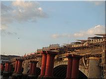 TQ3180 : View of the Blackfriars railway bridge from the South Bank by Robert Lamb