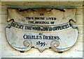 Photo of Charles Dickens, Betsey Trotwood, and David Copperfield marble plaque