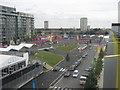 TQ3884 : Athletes Village Entrance, Olympic Park by David Anstiss