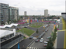 TQ3884 : Athletes Village Entrance, Olympic Park by David Anstiss