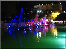 TQ2780 : Illuminated fountains at Marble Arch by Rod Allday