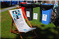 NT2473 : A seat by the recycling bins, Edinburgh Book Festival by Jim Barton