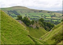 SK1482 : View down Cave Dale to Peveril Castle, Castleton by Neil Theasby