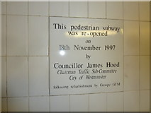 TQ2879 : Inscription in the underpass at Hyde Park Corner by Basher Eyre