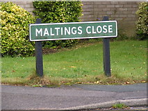 TM3877 : Maltings Close sign by Adrian Cable