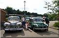 SU5832 : Bentley and Morris Minor at Alresford Station, Watercress Line, Hampshire by Christine Matthews