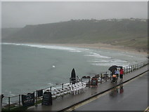 SW3526 : A wet August Bank Holiday at Sennen Cove by Rod Allday