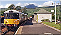 NN3825 : Crianlarich station, with train, 1986 by Ben Brooksbank