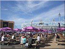 TQ3783 : Picnic area near Olympic stadium by Paul Gillett
