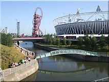 TQ3784 : River Lea near Olympic Stadium by Paul Gillett