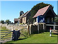 SO4383 : Lych gate and church board, Halford by Jaggery