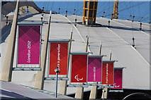 TQ3979 : Paralympic banners at North Greenwich Arena by Oast House Archive