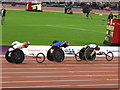 TQ3784 : David Weir  leads the Paralympics 1500 metre T54 final wheelchair race by David Hawgood