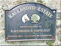 SE1039 : Sign at entrance to the Ravenroyd Estate, Bingley by Humphrey Bolton