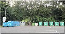 SJ2207 : Recycle bins in Berriew Street Car Park by John Firth