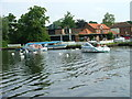 TG3018 : Swans and boats on Wroxham Broad by Dave Fergusson