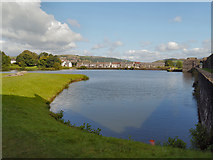 ST1587 : The North Lake, Caerphilly Castle by David Dixon
