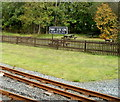 SO0509 : Picnic benches behind Pant station, Brecon Mountain Railway  by Jaggery