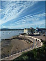 SX9980 : Exmouth sea wall and Windward Court by Chris Allen