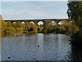 SJ9093 : Bottom Mill Pond and Viaduct, Reddish Vale by David Dixon
