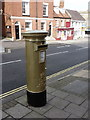 SZ3295 : Lymington: Olympic gold postbox by Chris Downer