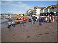 SX9372 : The lifeboat is hauled up the river beach, Teignmouth by Robin Stott