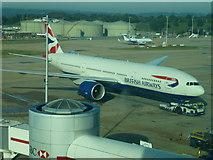 TQ2741 : British Airways plane at Gatwick North terminal by Richard Humphrey