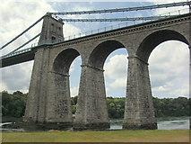 SH5571 : Menai Suspension Bridge by Christine Courtney