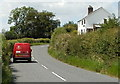 ST4793 : Royal Mail van passes Mynders Cottage near Shirenewton by Jaggery