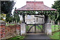 SP8128 : Decorated Lychgate at St Mary's by Philip Jeffrey