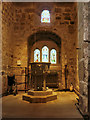 NY9864 : St Andrew's Church, Font and West Window by David Dixon