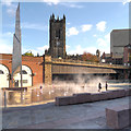 SJ8398 : New Fountains in Greengate Square by David Dixon