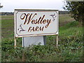 TM3975 : Westley Farm sign by Adrian Cable