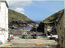 SW9339 : Portloe Cove slipway by Stuart Logan