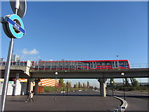 TQ4380 : DLR viaduct at Gallions Reach station by Gareth James