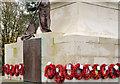 J5081 : Wreaths, Bangor war memorial by Albert Bridge