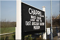 TL8928 : Chappel and Wakes Colne station nameboard by Glen Denny