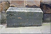 NZ2364 : Benchmark on Westgate Hill cemetery wall pier by Roger Templeman