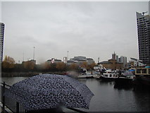 TQ3880 : View of billboards on the Aspen Way flyover and Tower Hamlets Town Hall from Poplar Dock by Robert Lamb