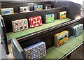 NU0121 : Pew cushions, St Michael's Church, Ilderton by Andrew Curtis