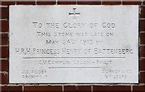 TQ1472 : All Saints, Campbell Road - Foundation stone by John Salmon