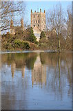 SO8832 : Tewkesbury Abbey reflected in the flood by Philip Halling