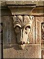 NS3979 : Smollett Mausoleum: dog's-head detail by Lairich Rig