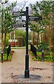 SP0667 : Signpost at junction of paths, Arrow Valley Country Park, Redditch by P L Chadwick
