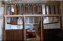 TQ9245 : Screen at entrance to Dering Chapel, Pluckley church by Julian P Guffogg