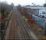 ST2995 : A distant view of Cwmbran railway station by Jaggery