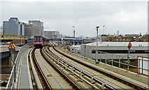 TQ3880 : Towards City of London from Blackwall DLR station, 1994 by Ben Brooksbank