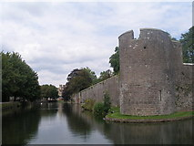 ST5545 : Wall and moat of the Bishop's Palace, Wells by John Slater