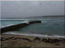 SW3526 : Waves break over the jetty by Richard Law